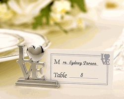 silver love place card holders with matching place cards set of wedding place card ideas