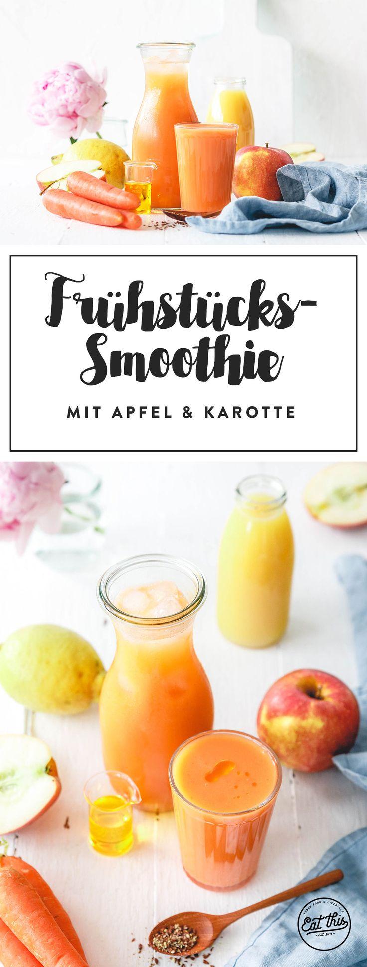 Schneller und einfacher Frühstückssmoothie mit Apfel, Karotte und Orange.   – Eat this!