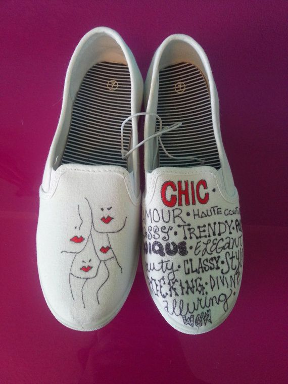Hand Drawn Fashion Decorated Womens Canvas Flats Shoes (Slip On Vans Style)