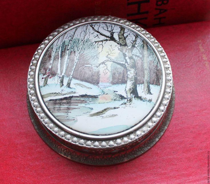 Купить Винтажная пудреница Зимний лес, Ленэмальер 1960-е годы - серебряный, пудреница