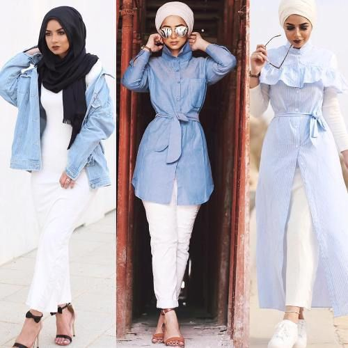 Ways a hijabi can wear denim with white outfit – Just Trendy Girls