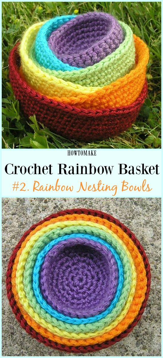 Rainbow Crocheted Nesting Bowls Free Crochet Pattern - #Crochet Rainbow #Basket Free Patterns