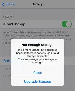 not enough icloud storage