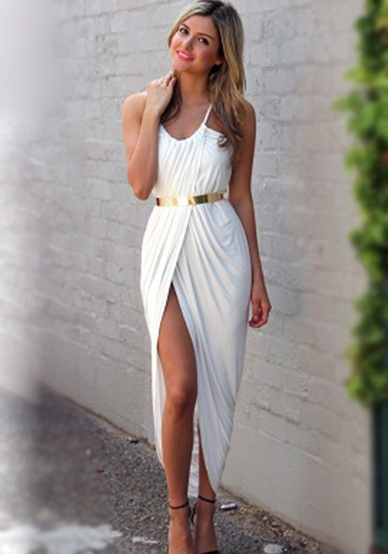 White Plain Condole Belt Pleated Irregular Dress