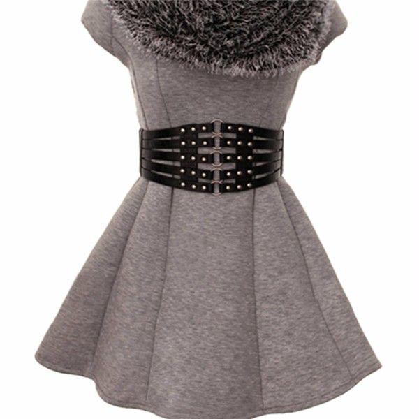 Women Girl Pu Leather Rivet Wide Round Button Belt Elastic Dress Accessories