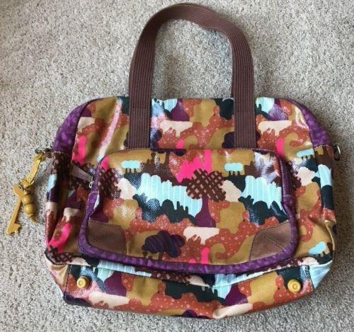 FOSSIL KEY-PER Large Tote Bag Purse Overnight Print Multicolor Yellow Keyfob EUC   eBay