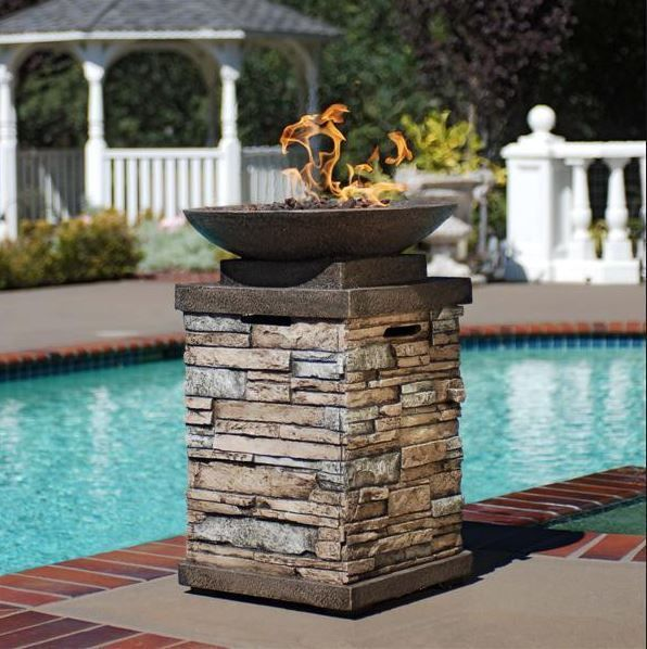 Patio Deck Fire Pit Table Outdoor Gas Fireplace Bowl Propane Heater LP Furniture #GardenOasis