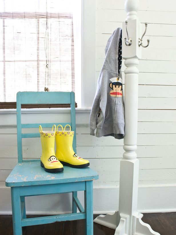 This simple-to-build, kid-sized coat rack will provide the perfect place for little hats and coats to hang.  maybe even add hooks to your childs bed if they have bed posts!