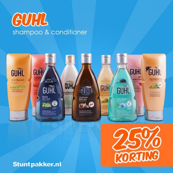 25% KORTING op Guhl shampoo & conditioner!  Met Guhl gun je jezelf met iedere wasbeurt iets bijzonders. Of je nu jouw droge haar wilt verzorgen, meer volume wilt of op zoek bent naar een specifieke shampoo tegen roos: Guhl heeft alle lijnen en producten.  Bekijk ons ruime assortiment op de website! www.stuntpakker.nl