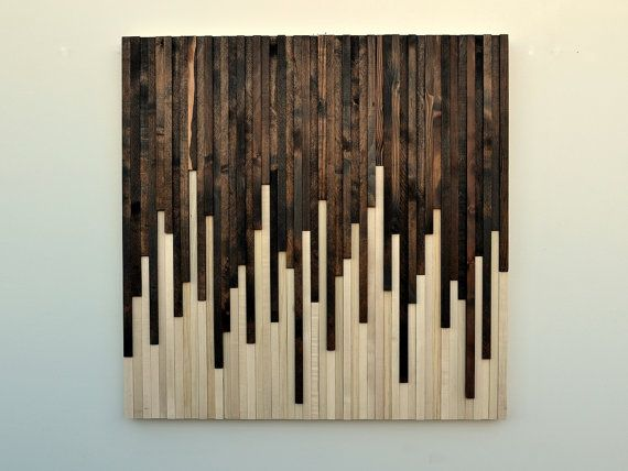 Wall Art - Wood Wall Art -  Rustic Wood Sculpture Wall Installation