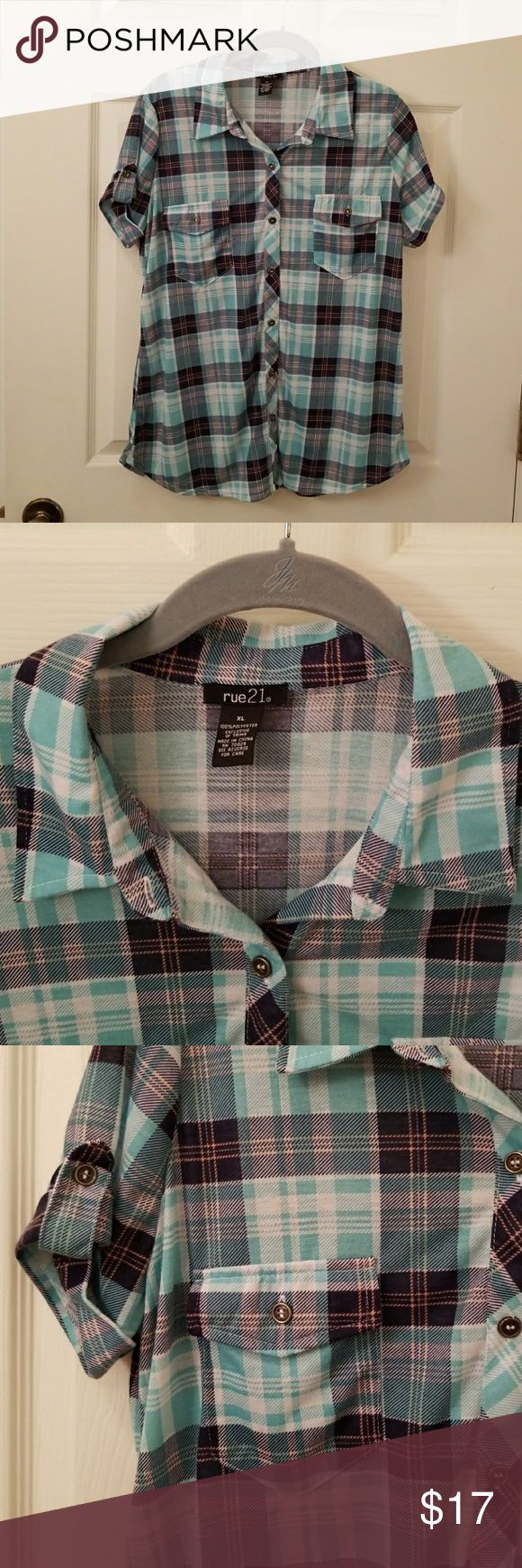 Plaid button up short sleeve shirt 2 front pocket with button-down cuff.  XL girls fits like medium women size. Soft feel Rue21 Tops Button Down Shirts