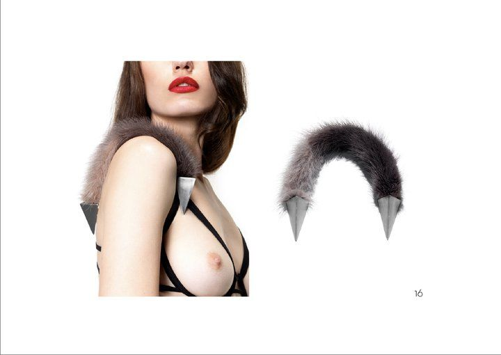 persephoni lookbook AW11 stainless steel/fur brooch photographer bill georgoussis