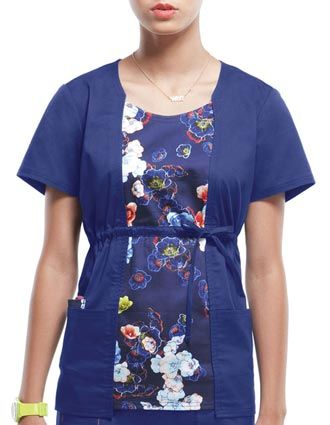 """Style Code: (HE-20962EL)  A round neck top that features a printed front panel creating a 2-fer effect, a front adjustable drawstring, back elastic, and patch pockets with a small interior pocket. Also featured are double needle topstitching, a signature woven tape at back the neck, and side vents. Its center back length is 25""""."""