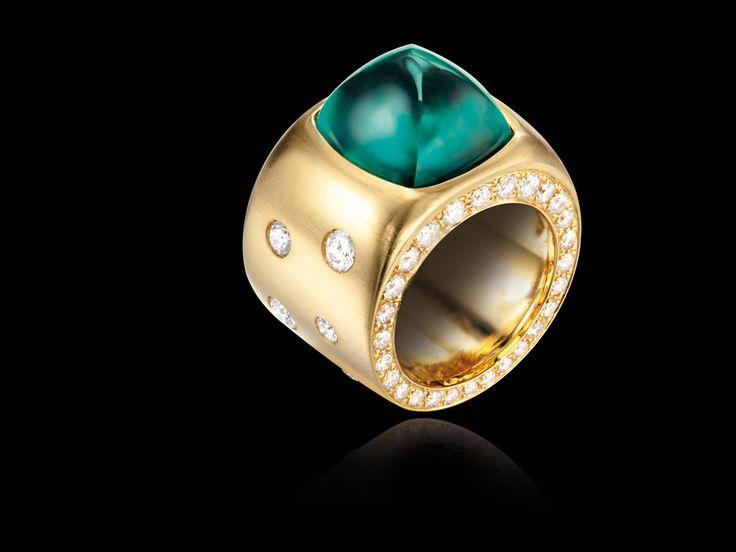 Sabbadini-alta gioielleria  Colombian emerald sugar-loaf ring 13.42 ct