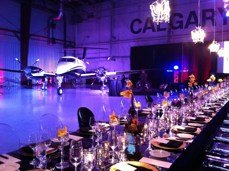 luxury wedding design, private airplane hangar OneWest Events Inc.