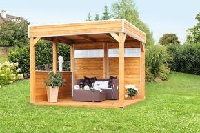 Pavillon SKANHOLZ Toulouse 4-Eck Pavillion Holzpavillon - Perfekt für eine Gartenparty