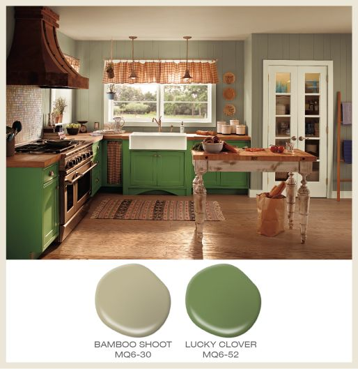 color of the month lucky clover green cabinets accompany sage green walls in a kitchen behr colorspaint - Behr Paint Kitchen Cabinets