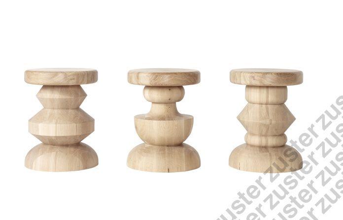 Sabrina woodturned stools/ lamp tables in solid American Oak.  350 diametre x 450 high
