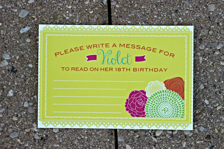 Girl Fiesta 1st / First Birthday Wish Cards.  Set of 20.  Hot pink/orange/yellow/green/teal party decoration.  Any Age. by CharmingTouchParties on Etsy