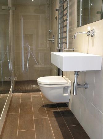 Loo and sink Raised off floor Glass shower door Stone floor