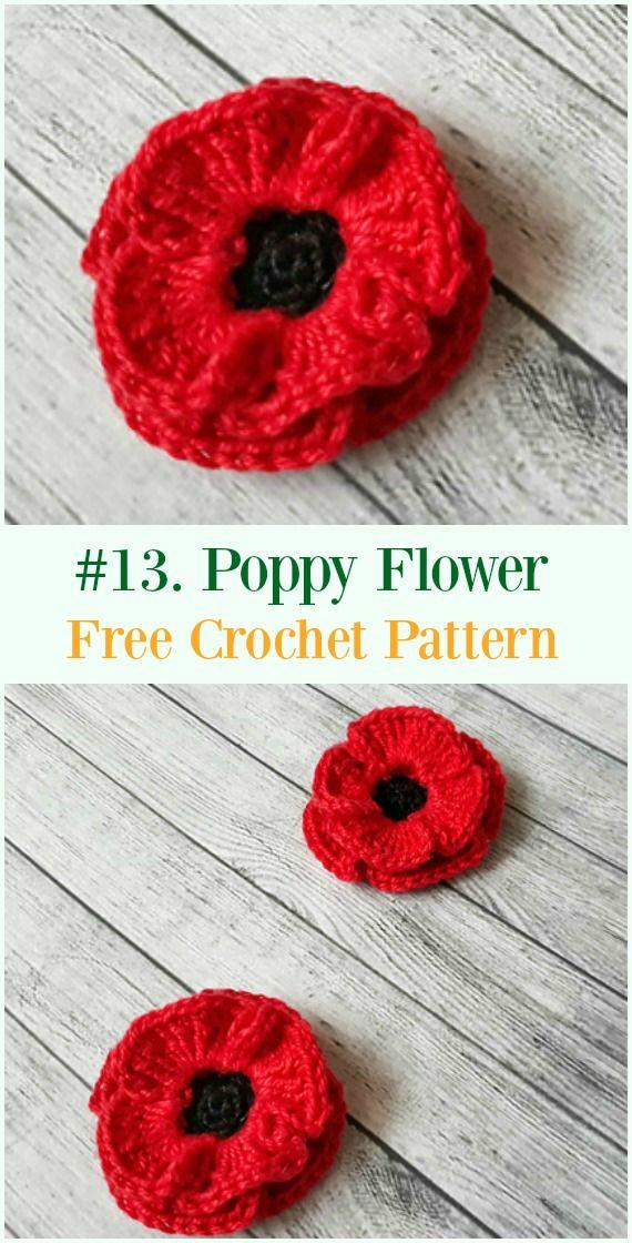 Crochet Poppy Flower Free Patterns Crochet