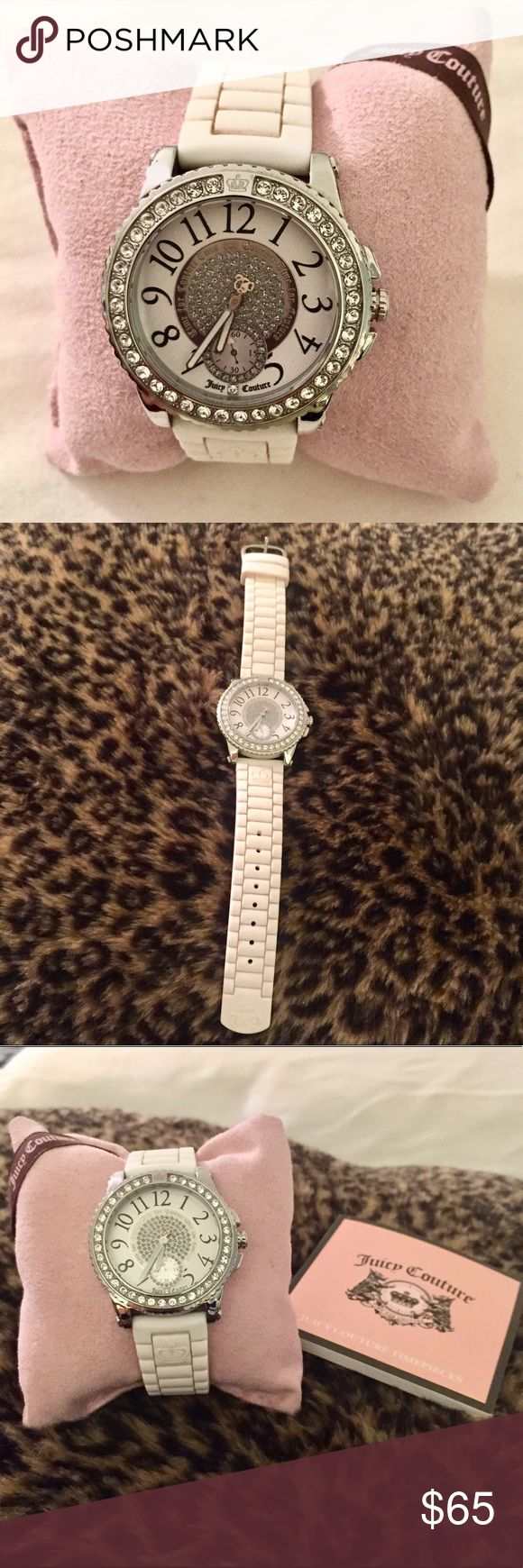 Juicy Couture Watch Super cute Juicy Couture watch in white with silver hardware! Lots of ways to adjust it and one size fits all. Used but in GREAT condition! Crystals on the inside make is so adorable 💗 Comes with original box. Feel free to make an offer :) ⚠️SHIPS FROM DIFFERENT ADDRESS-MESSAGE BEFORE BUNDLE⚠️ Juicy Couture Accessories Watches