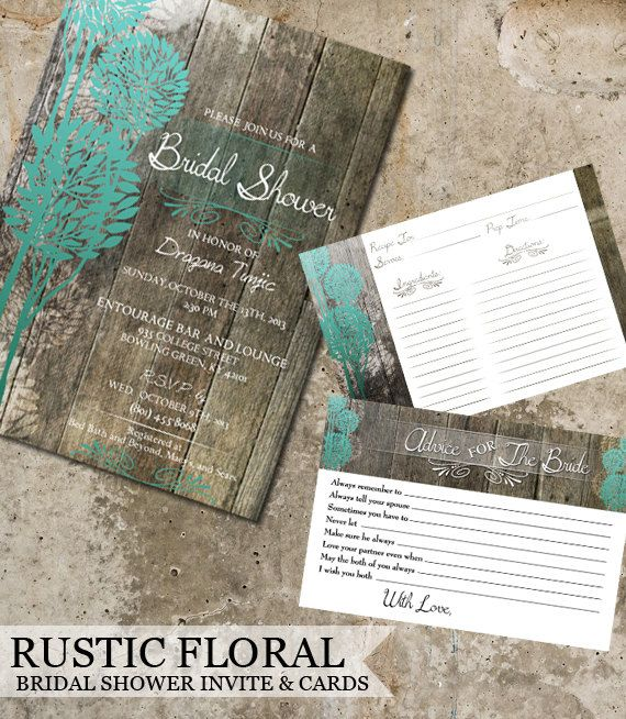 rustic wood bridal shower invitations advice cards recipe cards wedding shower invitations digital printable files diy printable