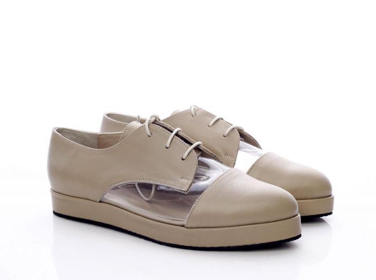 Pantofi piele bej