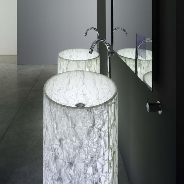Want this! Free-standing basin in alicrite with embedded fabric. The unique material and the internal light give the product a magical character.