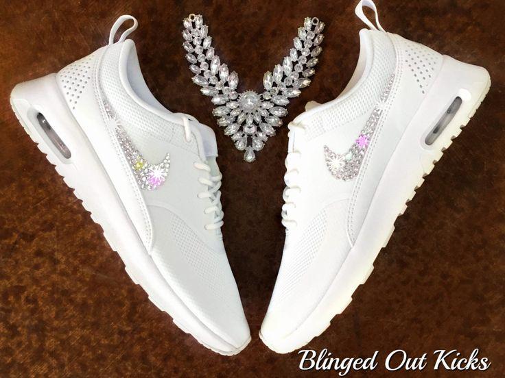 Women's Nike Air Max Thea Premium in Pure Light White w/Swarovski Crystals by ShopBlingedOutKicks on Etsy https://www.etsy.com/listing/222371667/womens-nike-air-max-thea-premium-in-pure