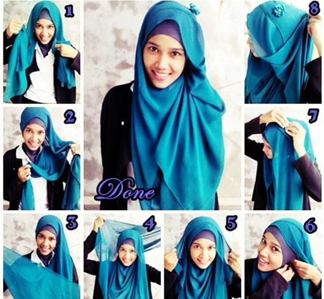 hijabi blue step by step
