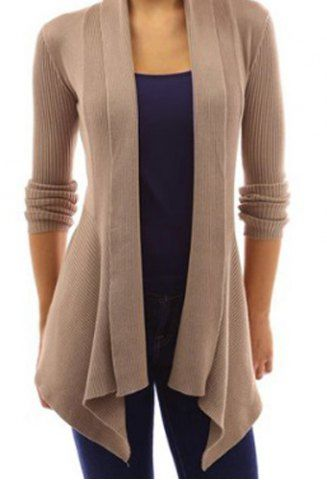 Stylish Shawl Collar Long Sleeve Slimming Pure Color Women's Cardigan