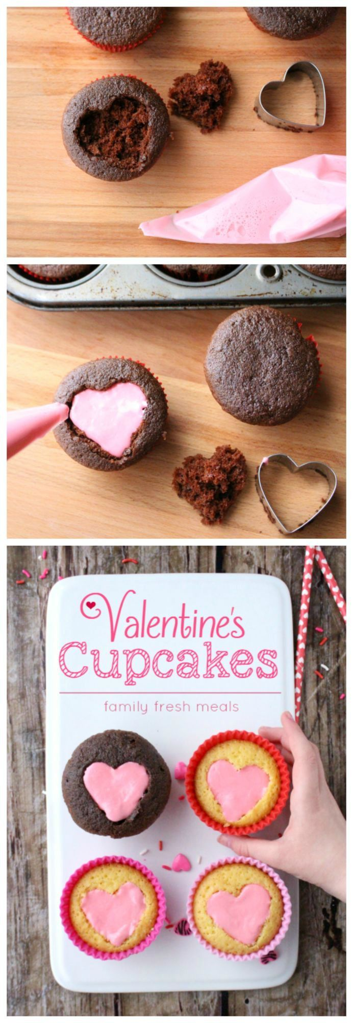 Easy Heart Valentine Cupcakes Recipe - Perfect for Valentine's Day! FamilyFreshMeals.com