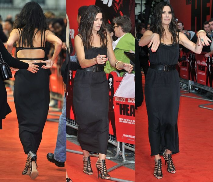 Sandra Bullock in a black backless Victoria Beckham spring 2013 dress at the U.K. premiere of her latest movie, The Heat, in London on June 13, 2013