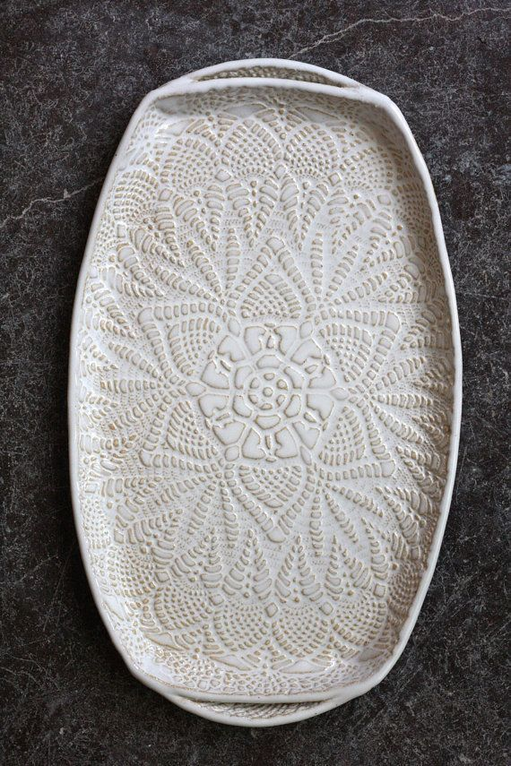 Handmade ceramic platter and trays   Handmade Pottery Tray White Lace Ceramic by FringeandFettle. Love this ...