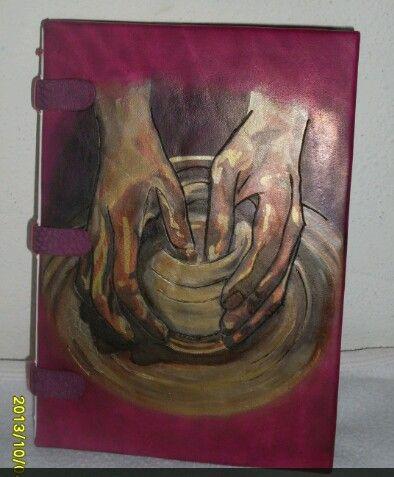 Agenda en cuero,pintada a mano