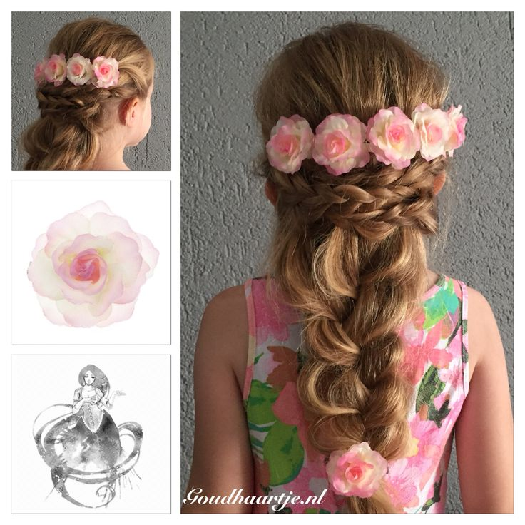 Messy mermaid flower braid with beautiful hairflowers from Goudhaartje.nl #mermaidbraid #braid #hairflower #hairstyle #hairaccessories #vlecht #haarbloem #haarstijl #haaraccessoires #goudhaartje