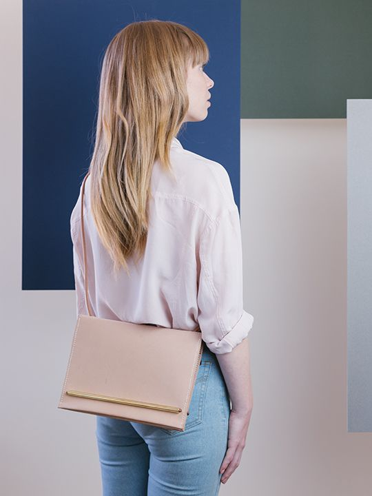 Symmetry collection by Georgie Cummings  Flip clutch/bag in natural