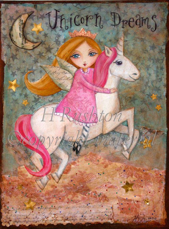 I LOVE THIS! Unicorn Decor Children Decor Child  Art  Mixed Media by hrushton, $18.00