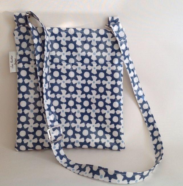 Marine blue Oilcloth Lined Messenger Bag cross body bag £16.99