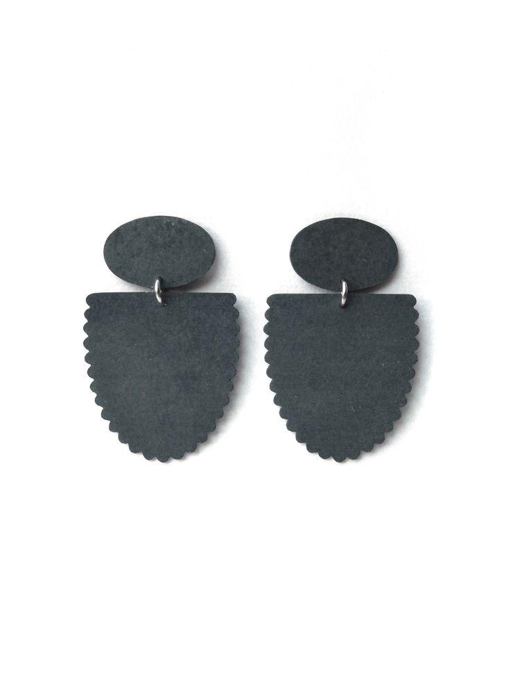'Crown Jewels', earrings, 2015, zinc, steel, silver. Made by Malou Paul. www.maloupaul.nl