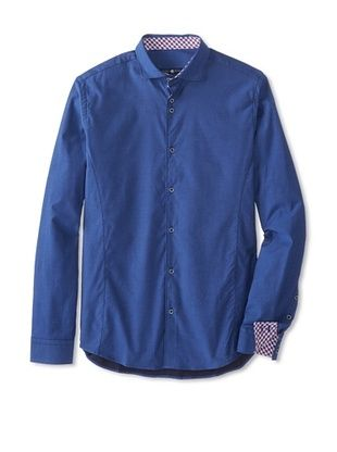 72% OFF Stone Rose Men's Solid Stretch Twill Long Sleeve Shirt (Blue)
