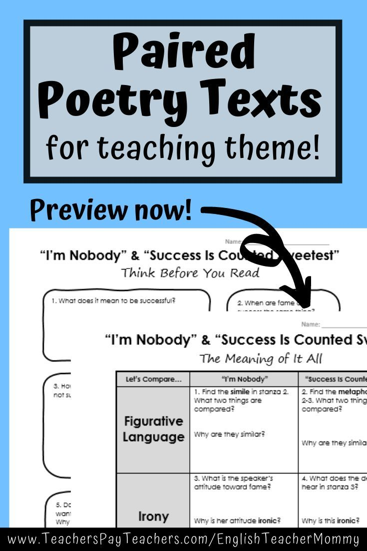 Emily Dickinson Poetry Paired Text For Theme Printable Digital Analysi Worksheet Middle School Teaching Figurative Language Succes I Counted Sweetest Line By Analysis