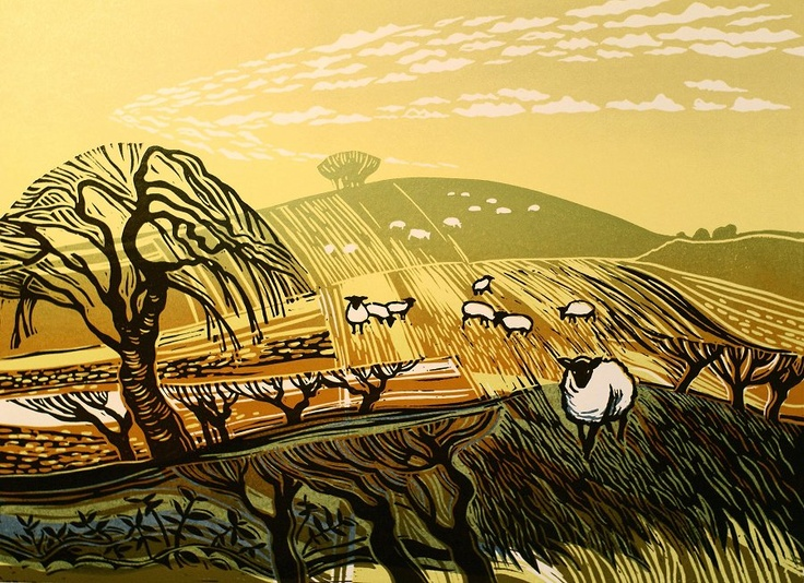 Winter Fields with Sheep Rob Barnes, Artist printmaker, lino cut