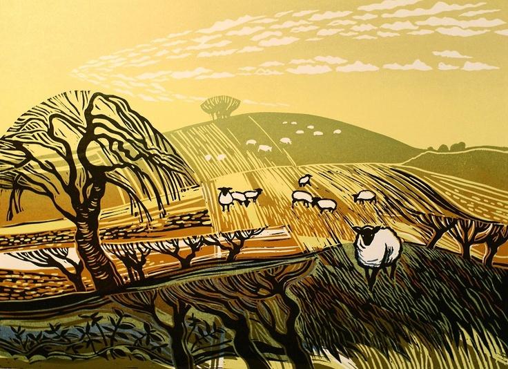 Winter Fields with Sheep Rob Barnes, Artist printmaker, lino cut