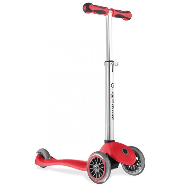 The Globber 3 wheel Scooter comes with a reinforced deck but the deck remains flexible. The deck position is also very low which is great for smaller legs. Price is $109.00!