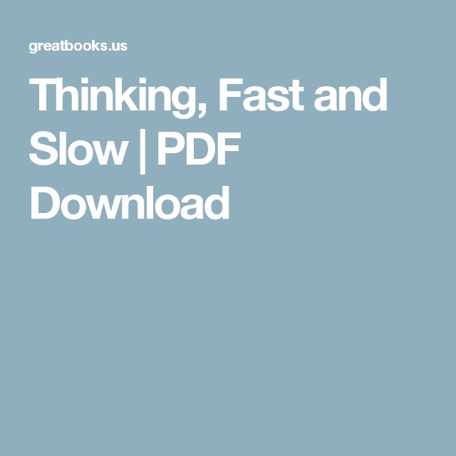 Thinking, Fast and Slow | PDF Download