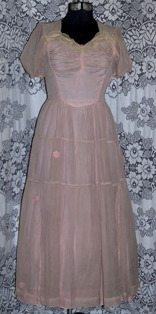 Vtg 1940s 50s Pink Sheer Chiffon Cocktail Garden Party Evening Dress Ruched Lace