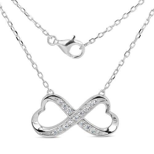 Stříbrný náhrdelník PRIA Infinity se zirkony SHZN078