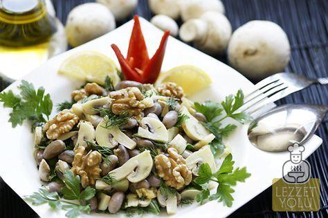 Barbunya salatası mantar, ceviz ve zencefil ile farklı bir lezzet şölenine dönüştü.